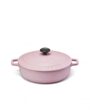 ピンク ローキャセロール20cm+ウッドサービングスプーン セット見る