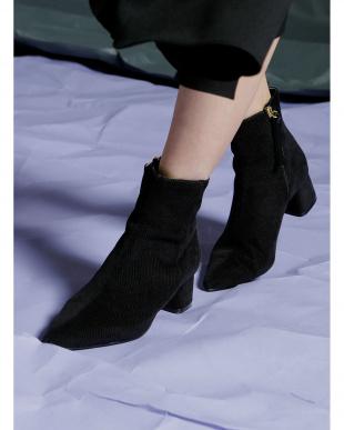 ブラック Corduroy Lowheel Boots見る