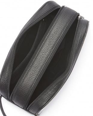ブラック  カイマンワニ革Wファスナーセカンドバッグ見る