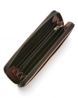 ブラウン  カイマンワニ革&牛革クロコ型押しラウンドファスナー長財布見る