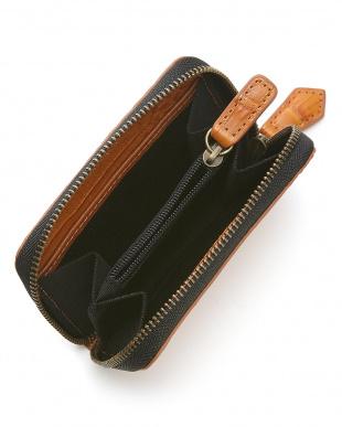 キャメル  カイマンワニ革&牛革クロコ型押しコインケース見る