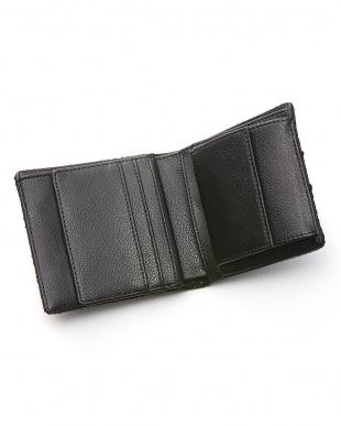 ブラック  ダイヤモンドパイソン小銭入れ付き二つ折り財布見る