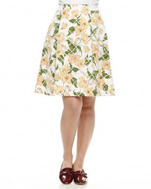 紺 フラワープリント刺繍スカートを見る