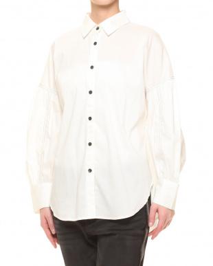 ブルーストライプ falsetto 前身すっきりボリュームスリーブシャツを見る