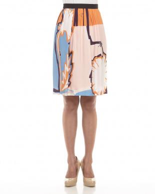 オレンジ ストライプ&ダンデライオン スカートを見る