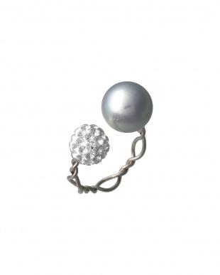 シルバー/グレー/クリスタル グレー貝パールXクリスタルボール フォークリングを見る