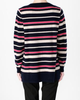 ネイビー×ベージュ カシミヤセーターを見る