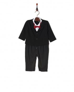 ジャケット長袖・ブラック 蝶ネクタイ付きフォーマルロンパース|BABYを見る