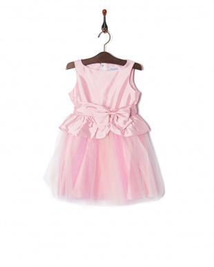 ピンク グラデーションペプラムドレスを見る