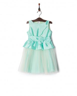 グリーン グラデーションペプラムドレスを見る