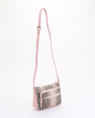 ピンク+ネイビー  パイソンポシェット+パイソンメッシュラウンドファスナー財布見る