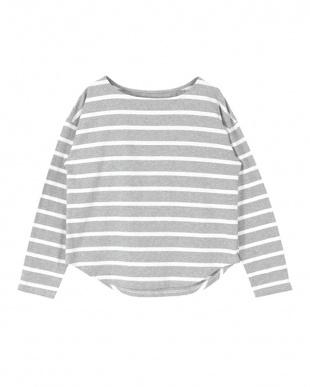 杢グレー/ホワイト ボートネックゆったりカットソーTシャツを見る