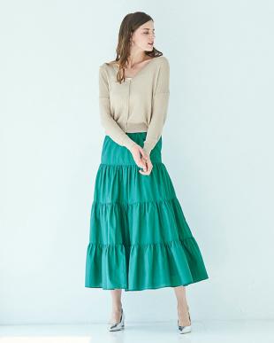 グリーン コットンティアードスカートを見る
