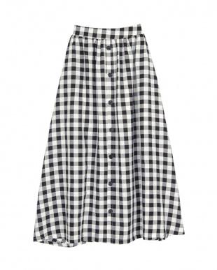 ギンガム/ブラック フロントボタンスカートを見る