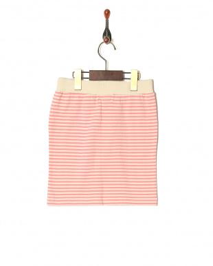 ピンク 20/2 ミニバスクボーダーヒザウエタイトスカートを見る