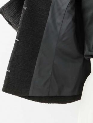 ブラック ノーカラーニットツィードジャケット[WEB限定サイズ] a.v.v見る