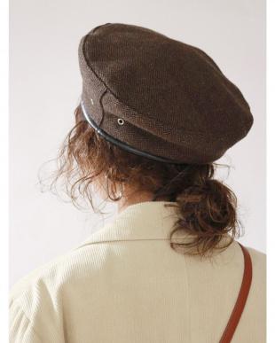グレー チェックベレー帽 Ungrid見る