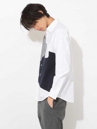 ホワイト グレンチェック切り替えオックスシャツ[WEB限定サイズ] a.v.v HOMME見る