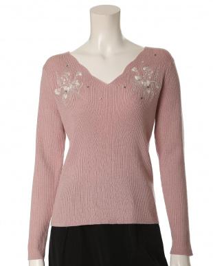 ホワイト 《大きいサイズ》Vネック刺繍セーター ef-de L Size見る