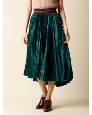 イエロー 《大きいサイズ》ベロアプリーツフレアスカート INED L size見る