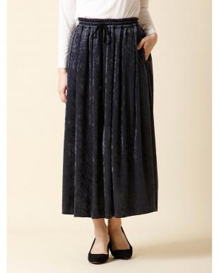 モスグリーン2 シャイニーベロアフレアスカート 7-ID concept.見る