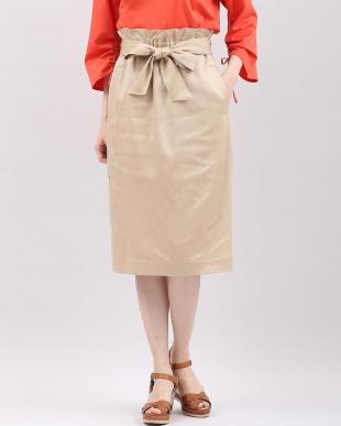 サーモンピンク4 リボンベルト付きハイウエストAラインスカート 7-ID concept.見る