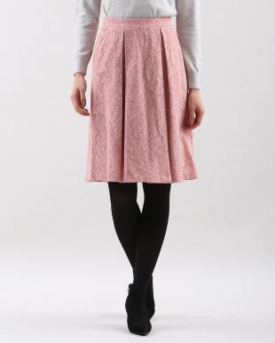 ピンク1 ニットボンディングレーススカート CLEAR IMPRESSION見る