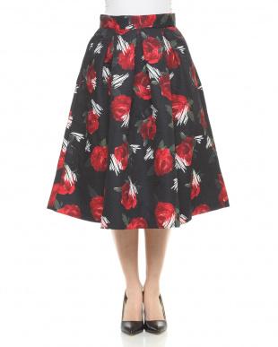 ブラック  Rose artフレアスカートを見る