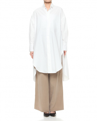 ホワイト バックテールスリットロングシャツを見る