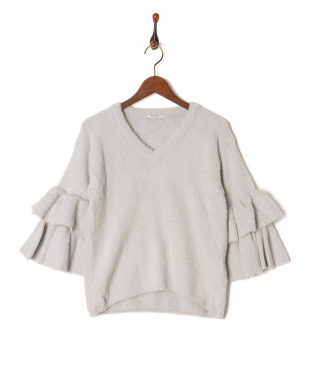グレー FEATHER YARN FLARE SLEEVE POを見る