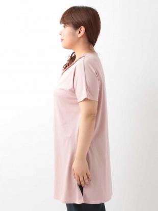 ピンク 【大きいサイズ】編みこみジャージーチュニック eur3見る