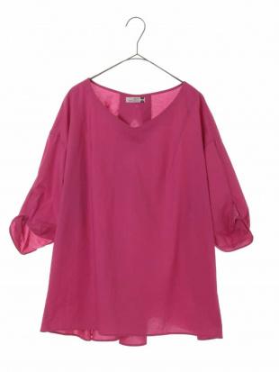 ピンク 【大きいサイズ】デザインスリーブコットンブラウス eur3見る
