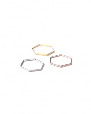 ゴールド1 3本セット六角形リング R/B(バイイング)見る