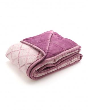 ピンク 綿入りふわふわ毛布(チェック)を見る