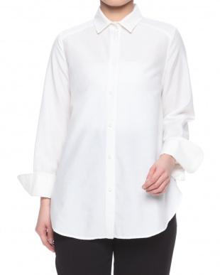 白 前結びロングカフスシャツを見る