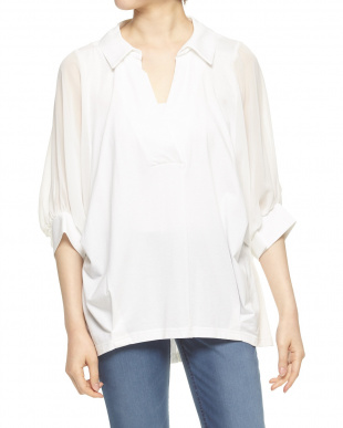 白 袖シフォン抜け衿カットシャツを見る
