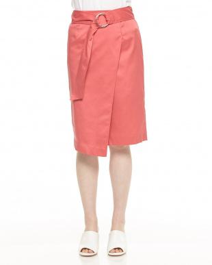 ピンク系 ベルト付ラップスカートを見る