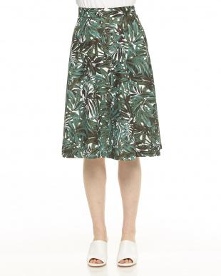 グリーン系 トロピカル柄プリントフレアスカートを見る