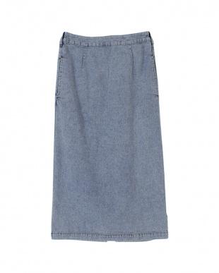 ライトブルー バックゴムタイトスカートを見る