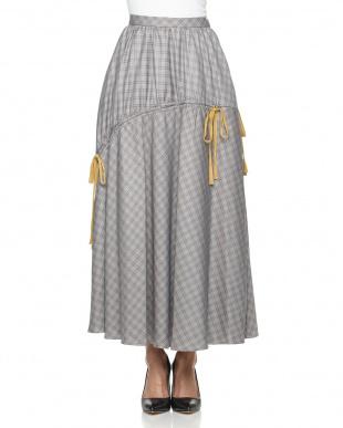 GRY ドロストリボンチェックマキシスカートを見る