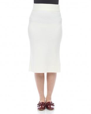 ホワイト ウールカシミヤタイトスカートを見る