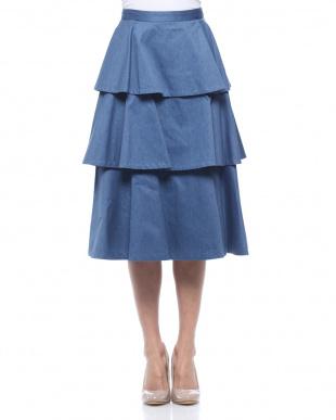 ブルー ミモレツイルティアードスカートを見る
