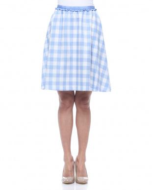 ブルー ギンガムチェックフレアスカートを見る
