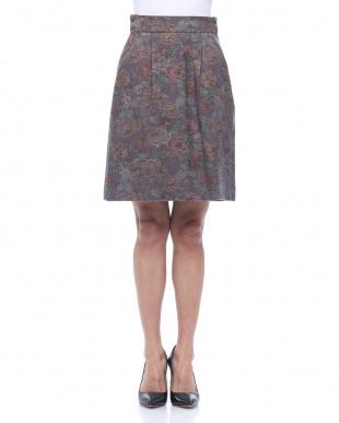 グレー フラワージャガードスカートを見る