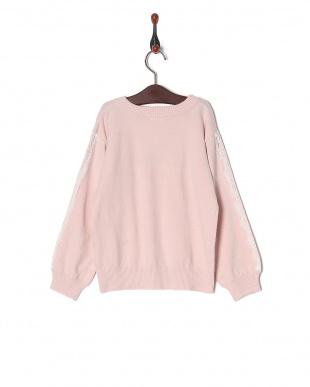 ピンク 袖レース使いセーターを見る