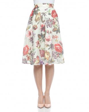イエロー オパール花柄プリントフレアースカートを見る