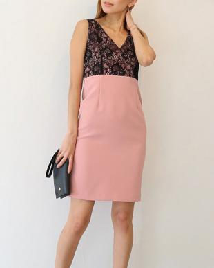 ピンク ラメレースドレスを見る
