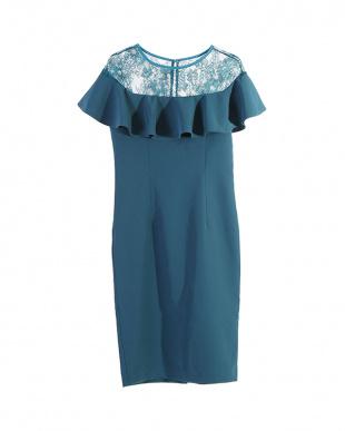ターコイズグリーン オフショルダーレースフリルタイトドレスを見る