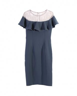 グレー/ブルー オフショルダーレースフリルタイトドレスを見る