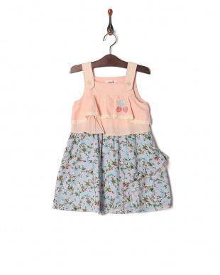 ピンク ストロベリープリントジャンパースカートを見る